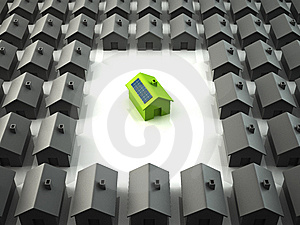 Modern Eco House Standing Out From The Crowd Stock Photography - Image: 13658212