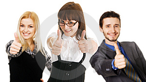 Young Business People Showing Thumbs Up Sign Stock Photos - Image: 13658593