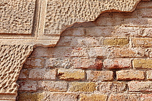 Partly Covered Old Brick Wall Stock Photos - Image: 13659263