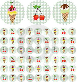 Bright Color Background With Ice-cream And Cherry Stock Photo - Image: 13659490