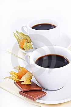 Two Cups Of Coffee With Chocolate Royalty Free Stock Photography - Image: 13660087