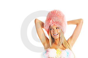 Sexy Laughing Girl In A Pink Fur Hat Stock Photo - Image: 13661640