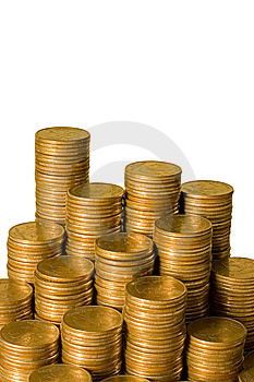 Golden Coins Isolated Isolated Over White Stock Image - Image: 13666641