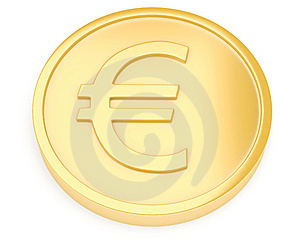 Gold Coin With Euro Sign Stock Photography - Image: 13668452