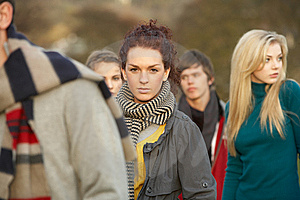 Teenage Girl Surrounded By Friends Royalty Free Stock Photos - Image: 13671208