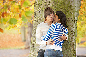 Romantic Teenage Couple By Tree In Autumn Park Royalty Free Stock Image - Image: 13671466