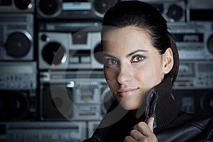 Portrait Of Woman With Boom Box Background Royalty Free Stock Images - Image: 13675899