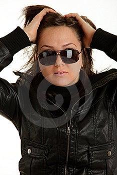 Biker Girl Is Posing Stock Image - Image: 13677341