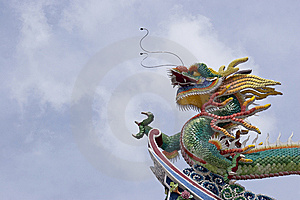 Chinese Dragon With Clean Blue Skies Royalty Free Stock Image - Image: 13678976