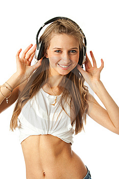 The Young Beautiful Girl With Headphones Royalty Free Stock Image - Image: 13682396