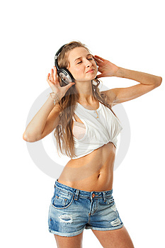 The Young Beautiful Girl With Headphones Royalty Free Stock Image - Image: 13682426