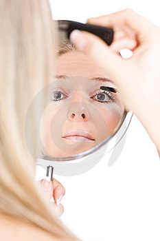 Woman Makeup In Mirror Royalty Free Stock Photo - Image: 13683435