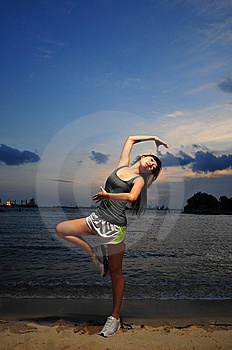 Asian Chinese Girl Practising Ballet During Sunset Royalty Free Stock Photography - Image: 13683477