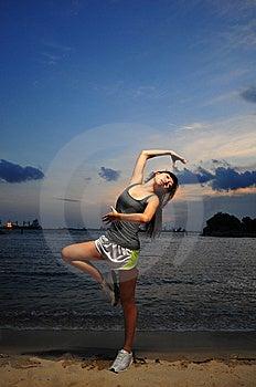 Asian Chinese Girl Practising Ballet During Sunset Royalty Free Stock Photography - Image: 13683477
