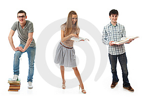 The Three Young Students Isolated On A White Stock Image - Image: 13683531