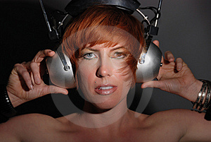Red Headed Woman With Vintage Headphones Royalty Free Stock Image - Image: 13685466