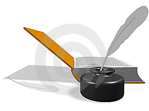Open Book With Inkwell And Pen Stock Photos - Image: 13687523