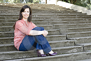 Woman On Steps Stock Photos - Image: 13690083