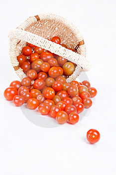 Cherry Tomatoes Fallen From The Basket Royalty Free Stock Image - Image: 13692056