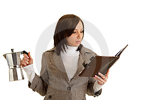 Business Woman With Timer And Coffee Royalty Free Stock Photos - Image: 13692378