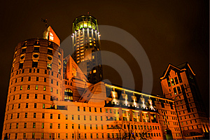 Night View On Modern Business Building In Moscow Stock Photography - Image: 13693332