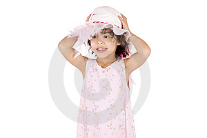 Girl Holding Her Hat Royalty Free Stock Images - Image: 13696569