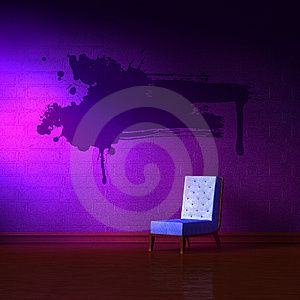 Blue Leather Chair With Grunge Splah Stock Images - Image: 13696864