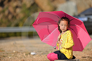 Asian Girl And Umbrella Stock Image - Image: 13698321