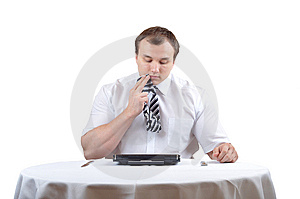 Businessman And Notebook Stock Image - Image: 13700691