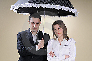 Fired Man And Woman Showing Identical Situation Royalty Free Stock Image - Image: 13700846