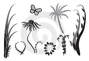 Abstract Daisy And Other Silhouettes. Royalty Free Stock Photo - Image: 13700905