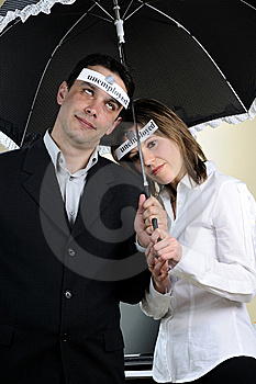 Unemployed People Staying Under Umbrella Stock Photos - Image: 13700983