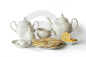 Tea Set With Flat Cakes Stock Photos - Image: 13702103