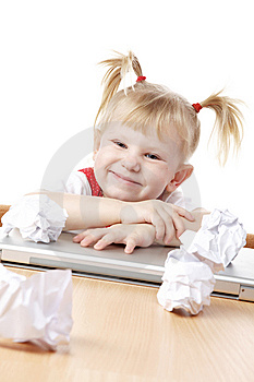 Child With Crampled Sheets Of Paper Stock Images - Image: 13702724