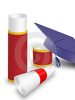 University Diploma And Graduation Hat Royalty Free Stock Images - Image: 13703849