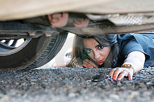 Woman Looking For Her Car Key Stock Photo - Image: 13706660