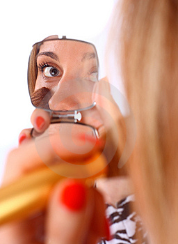 Woman Looking In To The Mirror Royalty Free Stock Photography - Image: 13706767