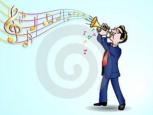 Trumpeter Over Music Background Royalty Free Stock Image - Image: 13706946
