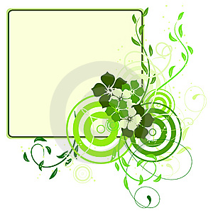 Green Banner With Flowers Stock Photo - Image: 13708250