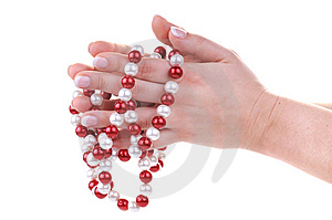 Beautiful Feminine Hands With Necklace Royalty Free Stock Image - Image: 13710216