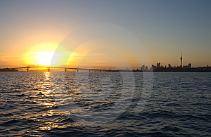 Auckland City And Harbour Sunrise Royalty Free Stock Photo - Image: 13713605