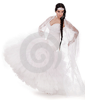 Young Brunette Dancing Bride In White Gown Royalty Free Stock Photography - Image: 13714267