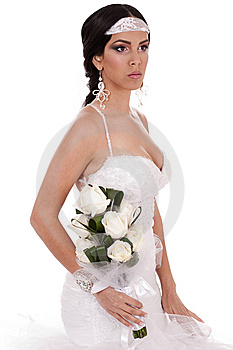 Young Beautiful Bride With Bouquet Of Roses Royalty Free Stock Image - Image: 13714326