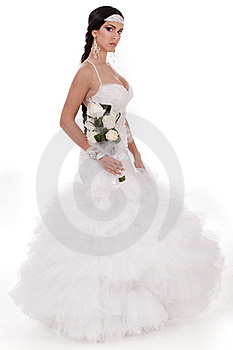 Isolated Young Trendy Bride With Bouquet Stock Images - Image: 13714334