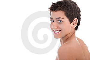 Topless Young Teenager Smiling Royalty Free Stock Photography - Image: 13715397