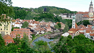 Panoramic  Of Cesky Krumlov In Czech Royalty Free Stock Image - Image: 13716376