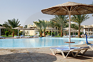View At Pool In Summer Resort Royalty Free Stock Image - Image: 13716566