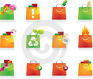 Shopping Bags Icon Set Royalty Free Stock Photo - Image: 13716615