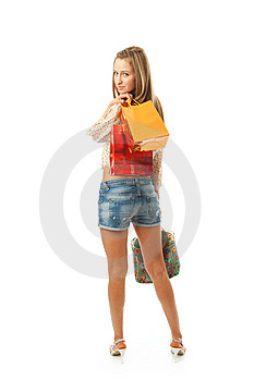 The Young Beautiful Girl With A Bags Stock Photo - Image: 13717320