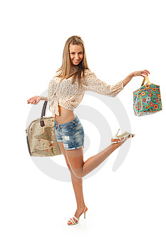 The Young Beautiful Girl With A Two Bags Royalty Free Stock Images - Image: 13717329
